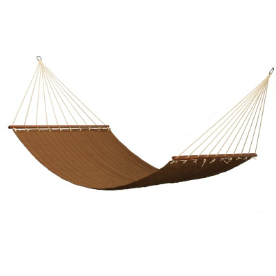 Large 2 Person Sunbrella Canvas Teak Quilted Hammock