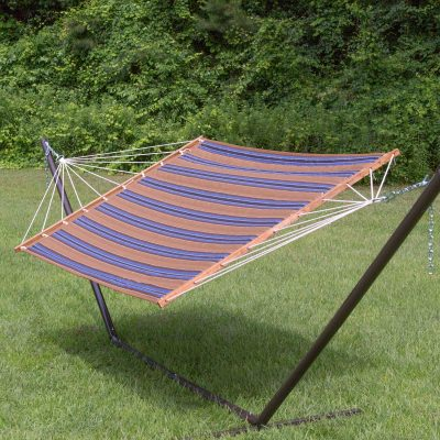 Large 2 Person Soft Polyester Quilted Hammock - Brown and Blue Stripe