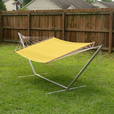 Large 2 Person Soft Polyester Quilted Hammock - Canary Yellow