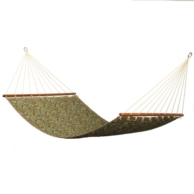 Large 2 Person Soft Polyester Quilted Hammock - Brown and Green Paisley