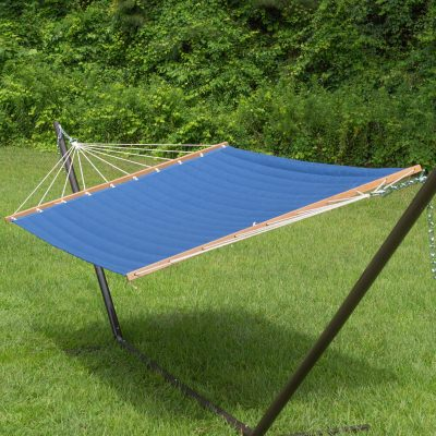 Large 2 Person Soft Polyester Navy Blue Quilted Hammock with Stand
