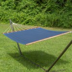 Large 2 Person Soft Polyester Quilted Hammock -Blue and Light Blue