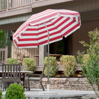 7.5 Ft. Crank Lift Classic Steel Patio Umbrella with Button Tilt