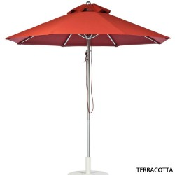 9 Ft. Pulley Aluminum Market Umbrella with Silver Frame