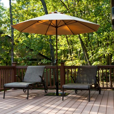 9 Ft. Crank Lift Fiberglass Market Umbrella with Bronze Pole