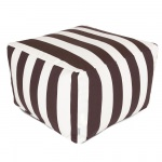 Chocolate Vertical Stripe Large Outdoor Ottoman