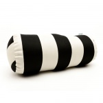 Black Vertical Stripe Round Bolster Outdoor Pillow