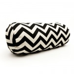 Black Zig Zag Round Bolster Outdoor Pillow