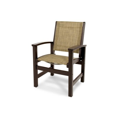 Coastal Dining Chair in Mahogany / Burlap Sling