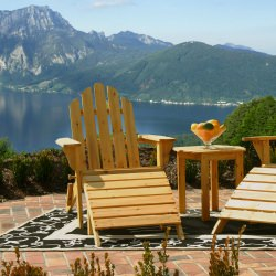 Exclusive Folding Wood Adirondack Chair - Honey Gold Stained
