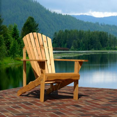 Exclusive Fan Back Wood Adirondack Chair - Honey Gold Stained