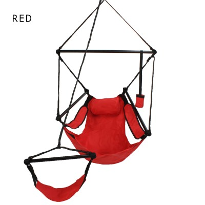 Deluxe Single Swing Hanging Sky Chair with Footrest