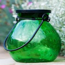 Allsop Soji Bubble Glass Solar Lanterns Emerald with White LED Lights