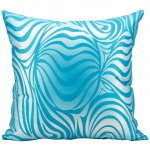 Mina Victory Zebra Turquoise Outdoor Pillow