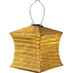 Soji Silk Effects Square Solar Lantern in Bronze