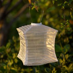 Soji Silk Effects Square Solar Lantern in Pearl