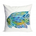 Batik Fish Aqua Outdoor Pillow