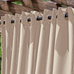 Basilica Beige Extra Wide Outdoor Curtain