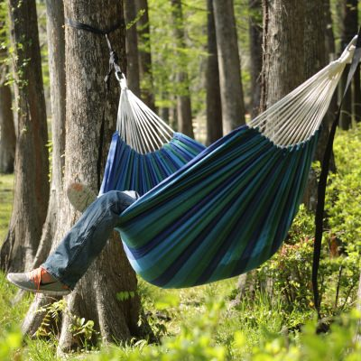 Large Cotton Brazilian Everglade Stripe Hammock with FREE Matching Storage Bag