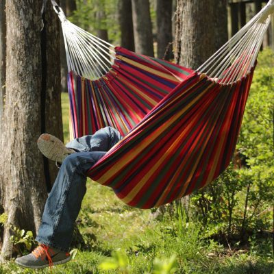 Large Cotton Brazilian Multi Stripe Hammock With FREE Matching Storage Bag