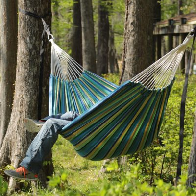 Large Cotton Brazilian Island Stripe Hammock with FREE Matching Storage Bag