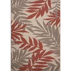 Jaipur Bloom Birch Ivory and White Fern Outdoor Rug