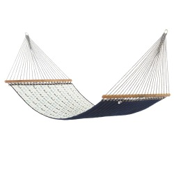Anchor Arbor Blue Large Quilted Hammock Made in USA with Reversible Sunbrella Fabric