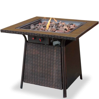 Bronze Propane Gas Fire Table with Handcrafted Tile Mantel