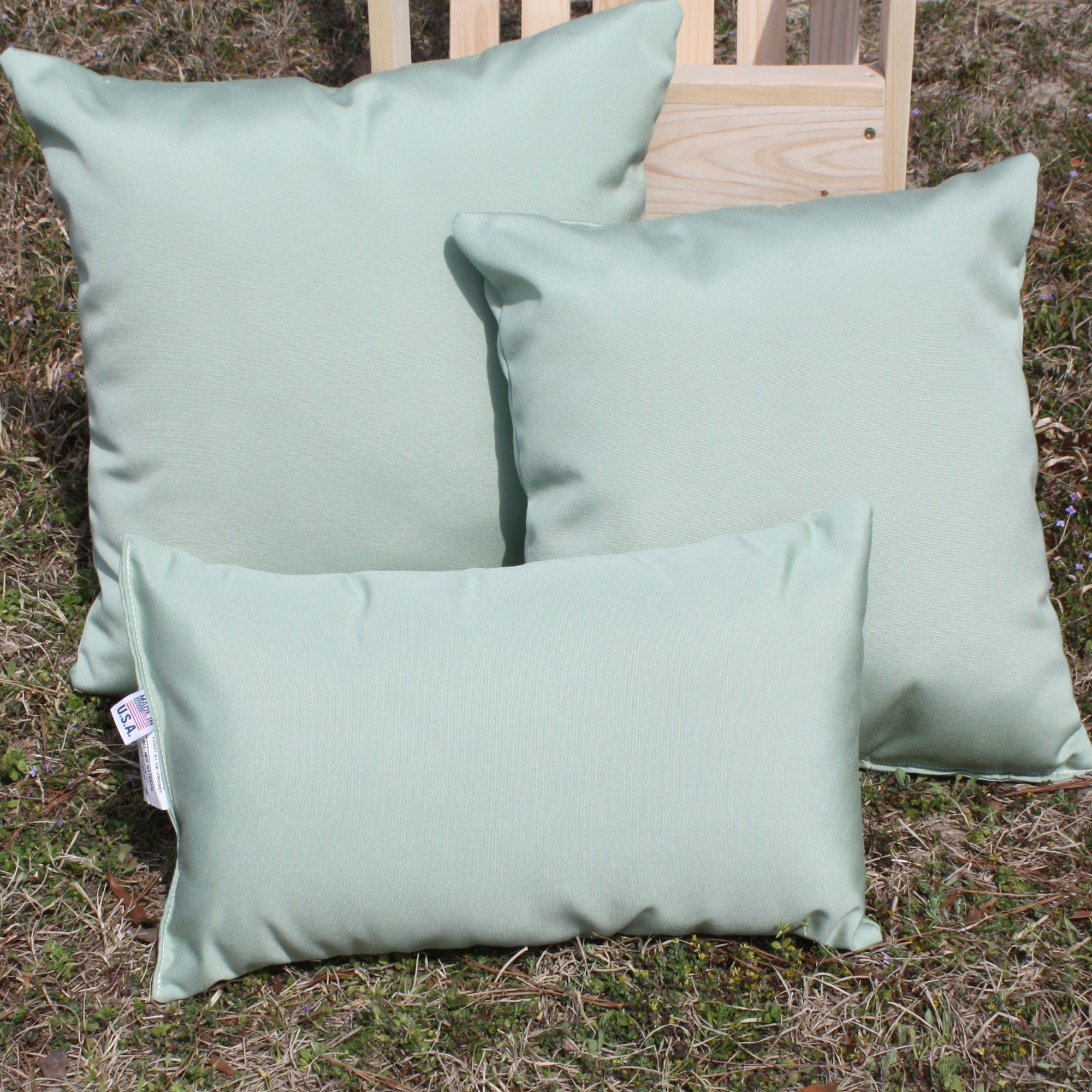 Canvas Celadon Sunbrella Outdoor Throw Pillow DFOHome