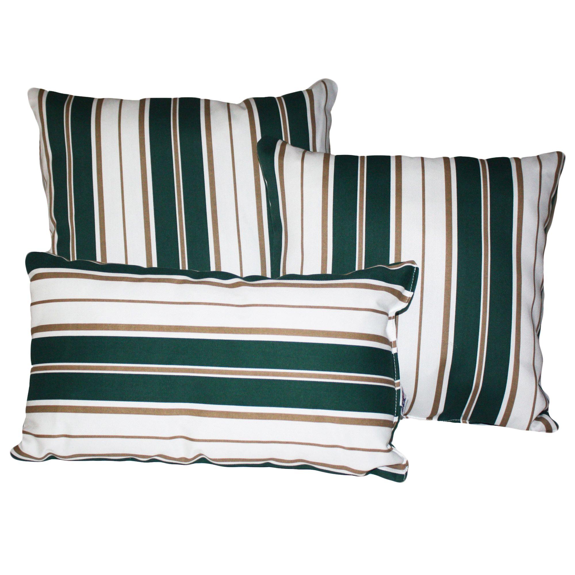 Green and white stripe outdoor throw pillow dfohome for Green and white throw pillows