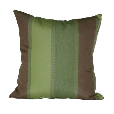 Green and Brown Stripe Outdoor Throw Pillow 19 in. x 19 in. Square