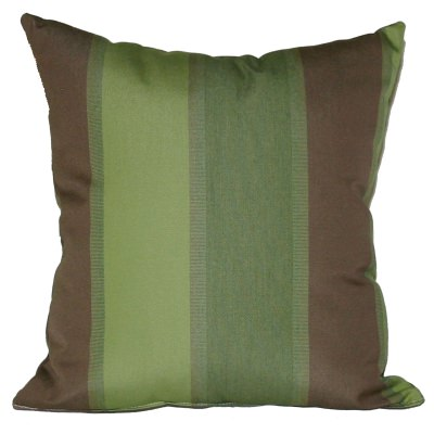 Green and Brown Stripe Outdoor Throw Pillow