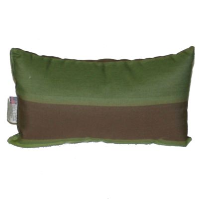Green and Brown Stripe Outdoor Throw Pillow 19 in. x 10 in. Rectangle/Lumbar