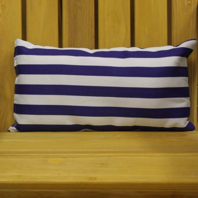 Cabana Blue Stripe Outdoor Throw Pillow 19 in. x 10 in. Rectangle/Lumbar