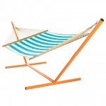 Turquoise Cabana Stripe Large Quilted Hammock Made in USA with Reversible Sunbrella Fabric