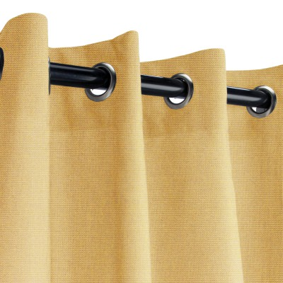 Sunbrella Canvas Brass Outdoor Curtain with Nickel Grommets