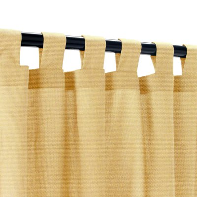 Sunbrella Canvas Brass Outdoor Curtain with Tabs