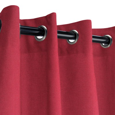 Sunbrella Canvas Burgundy Outdoor Curtain with Nickel Grommets
