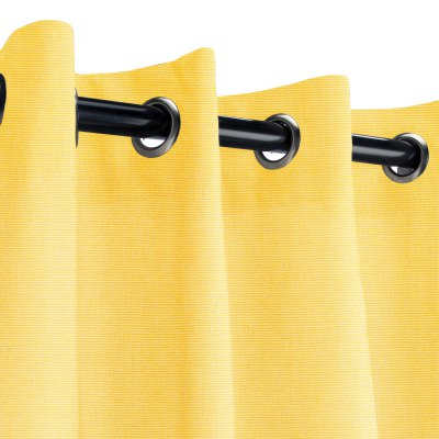 Sunbrella Canvas Buttercup Outdoor Curtain with Nickel Grommets