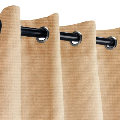 Sunbrella Canvas Camel Outdoor Curtain with Nickel Grommets