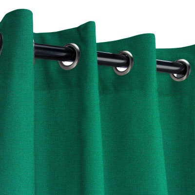 Sunbrella Canvas Forest Green Outdoor Curtain with Old Copper Grommets 50 in. x 84 in.