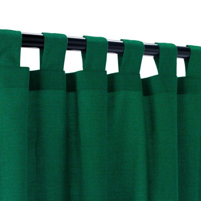Sunbrella Canvas Forest Green Outdoor Curtain with Tabs