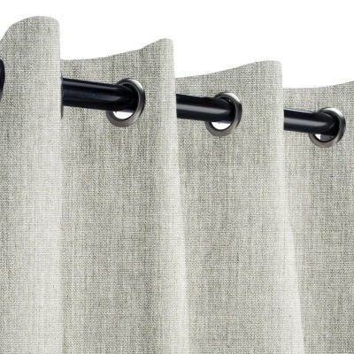 Sunbrella Canvas Granite Outdoor Curtain with Light Gunmetal Grommets 50 in. x 120 in.