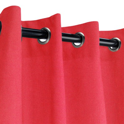 Sunbrella Canvas Logo Red Outdoor Curtain with Grommets