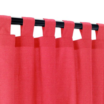 Sunbrella Canvas Logo Red Outdoor Curtain with Tabs