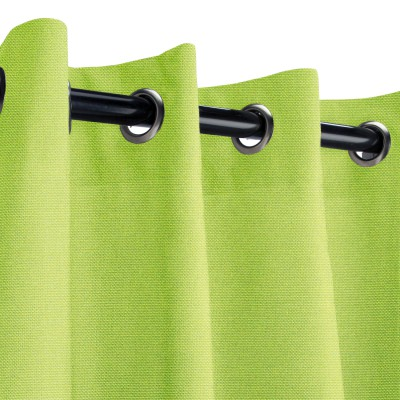 Sunbrella Canvas Macaw Green Outdoor Curtain with Nickel Grommets