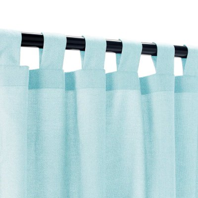 Sunbrella Canvas Mineral Blue Outdoor Curtain with Tabs