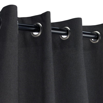 Sunbrella Canvas Raven Black Outdoor Curtain with Grommets
