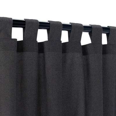 Sunbrella Canvas Raven Black Outdoor Curtain with Tabs