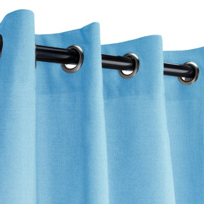 Sunbrella Canvas Sky Blue Outdoor Curtain with Grommets